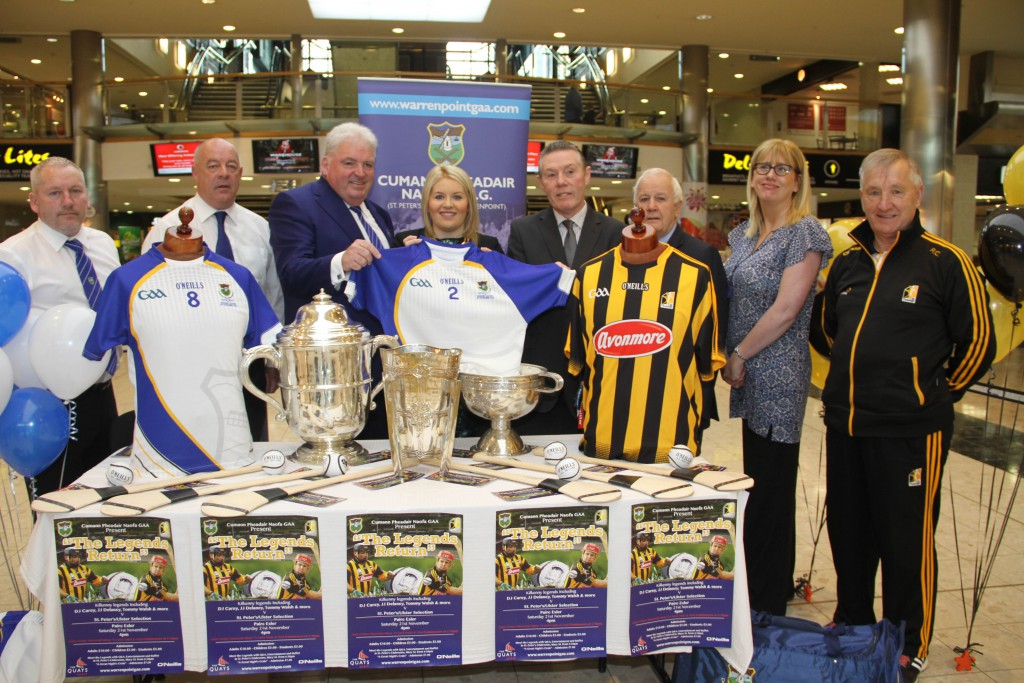 Brian Murphy, Gerry O'Neill, Feargal McCormack Chairman Cumann Pheadair Naofa, Councillor Naomi Bailie Chairperson Newry, Mourne and Down Council, Raymond Tumilty Area Manager O'Neill's Sportswear, Michael Keenan, Chairman of the organising committee, Moya Murphy and Rackard Cody a member of the Kilkenny Senior Hurling management team who brought the Liam McCarthy Cup, The Bob O'Keeffe Leinster Senior Hurling Cup and The Hanrahan to the Launch of the Kilkenny Legends Return Match which will take place in Pairc Esler on Saturday 21 November.